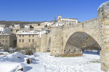 Town of Villoslada de Cameros in a snowy day, La Rioja, Spain