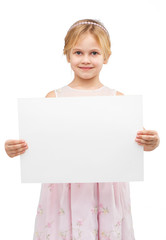 Cute girl with white blank paper