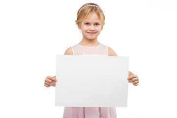 Little girl with white blank paper