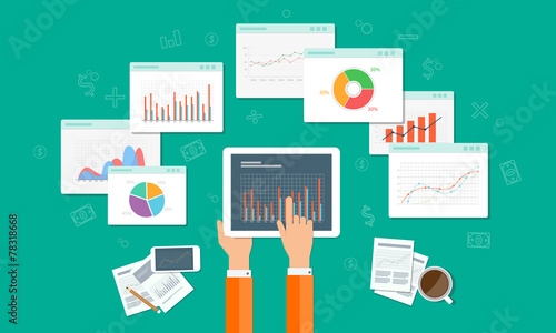 analytics graph and seo  business on mobile device - 78318668