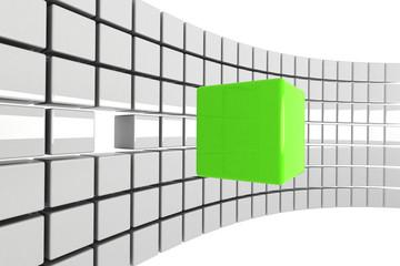 bright green cube detached concept
