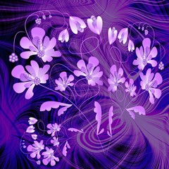 Phantasy purple composition with flower on fractal background