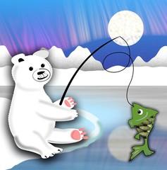 Plush polar bear sitting on the ice floe and fishing