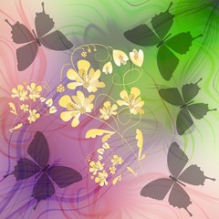 Phantasy background with butterflies silhouettes and flower