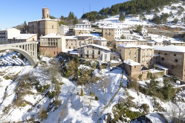 Town of Ortigosa de Cameros in a snowy day, La Rioja, Spain