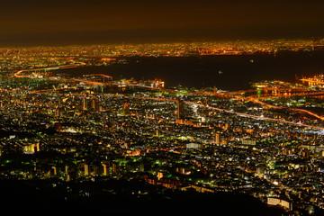 Osaka and Kobe at night, View from the Kukuseidai of Mt.Maya