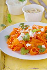 Carrot pasta salad with feta