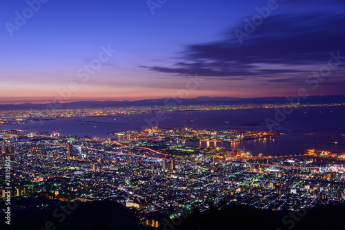 Foto op Plexiglas Japan Osaka and Kobe in the twilight, View from the Kukuseidai of Mt.M