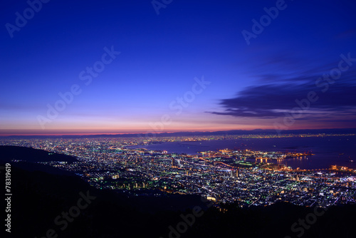 Osaka and Kobe in the twilight, View from the Kukuseidai of Mt.M
