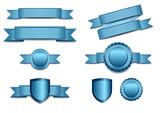 Fototapety Blue Banners with Shield and Rosette