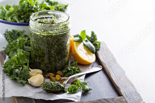 Kale pesto with pistachios, garlic and olive oil - 78320227