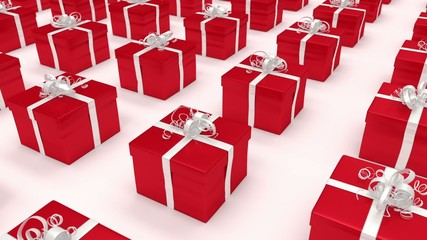 Red gift boxes. (loop-ready file).
