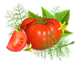 Red ripe tomatoes with dill.