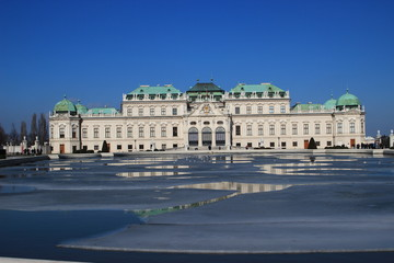 vienna belvedere palace in winter (1/3 sky)