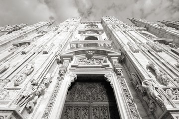 Cathedral in Milan. Black and white.
