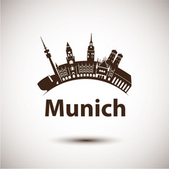 Vector silhouette of Munich. City skyline.