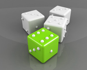 green winning dice on the grey background concept