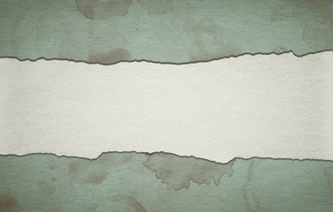 Vintage green paper background with stripe and dirty stains