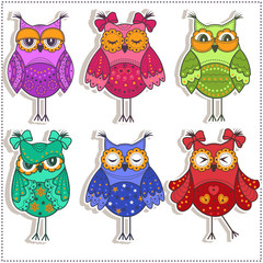 Set of multicolored, beautiful owls