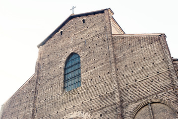 Detail of San Petronio Cathedral. Bologna, Italy.