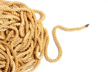 Ball of hemp rope isolated on white background.