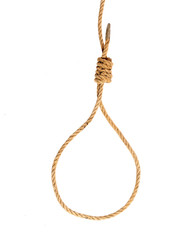 Hanging noose of hemp rope on white background.
