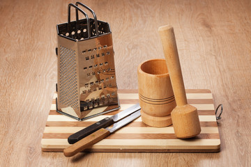 kitchen tools on the wooden table