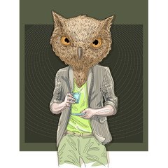 Owl man drinking coffee