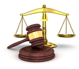 gold scales and gavel