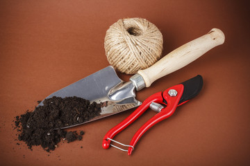Green garden spade and scissors with ground