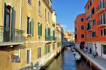 Venice canal and bridge at sunrise