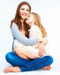 Child embrace her mother