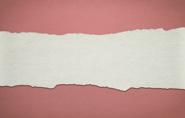 Vintage red paper background with white torn stripe