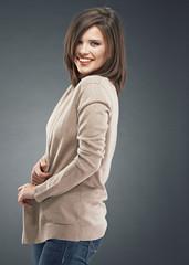 Smiling woman studio portrait.
