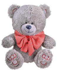 Grey furry teddy bear with red bow