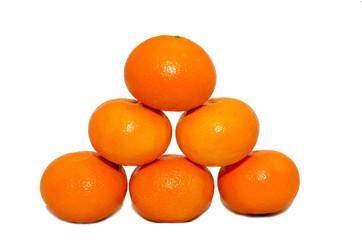 mandarins isolation, white background,