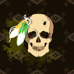 The deceased native American Lakhota. Conceptual vector illustra