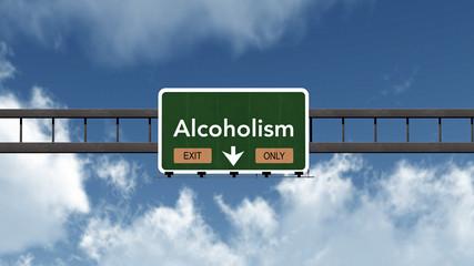Alcoholism Highway Road Sign Exit Only Concept 3D Illustration