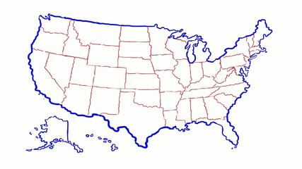 united state of america map with state