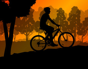 Active cyclists bicycle riders in romantic wild mountain nature