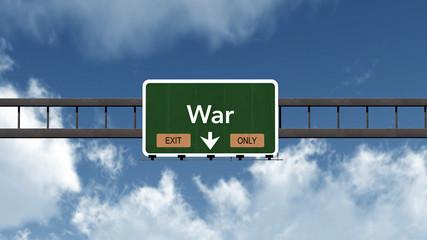 War Highway Road Sign Exit Only Concept 3D Illustration
