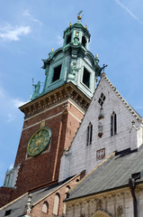 Tower of gothic Wawel Cathedral in Krakow,Poland,unesco heritage