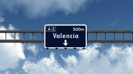 Valencia Spain Highway Road Sign