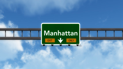 Manhattan USA Highway Road Sign Exit Only