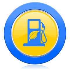 biofuel blue yellow icon bio fuel sign