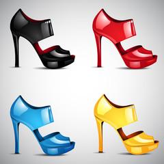 Vector high heel shoes set