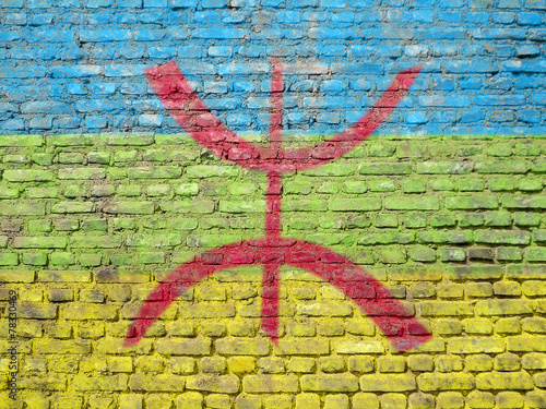 Deurstickers Algerije Berber flag painted on wall