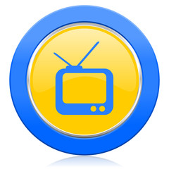 tv blue yellow icon television sign