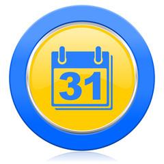 calendar blue yellow icon organizer sign agenda symbol