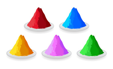 Set of colored powders for Happy Holi.
